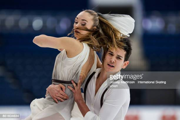 Julia Wagret and Mathieu Couyras of France compete in the Junior Ice Dance Free Dance during day two of the ISU Junior Grand Prix of Figure Skating...