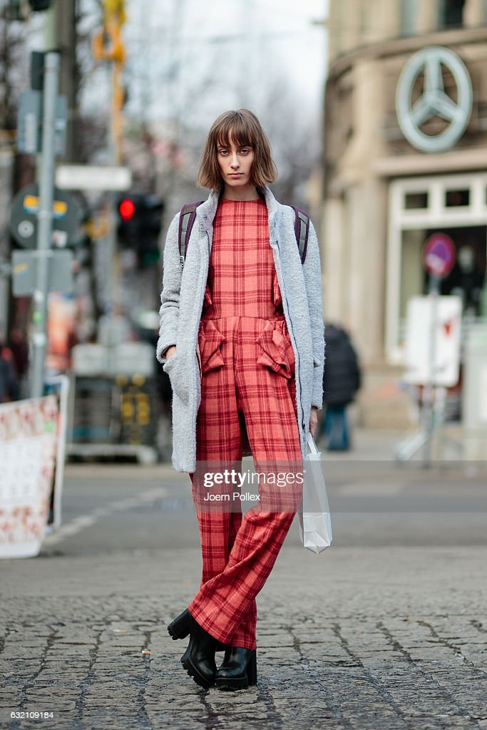 Julia, wearing Kacosta, poses for photographs during the Mercedes-Benz Fashion Week Berlin A/W 2017 at Kaufhaus Jandorf on January 19, 2017 in Berlin, Germany.