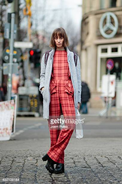 Julia, wearing Kacosta, poses for photographs during the Mercedes-Benz Fashion Week Berlin A/W 2017 at Kaufhaus Jandorf on January 19, 2017 in...