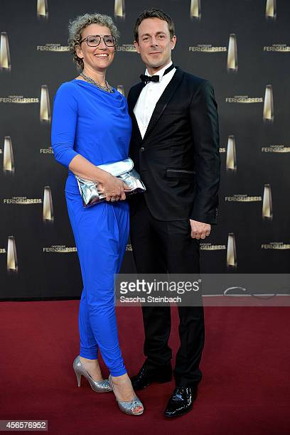 Julia Westlake and Alexander Bommes arrive at the Deutscher Fernsehpreis 2014 at Coloneum on October 2 2014 in Cologne Germany