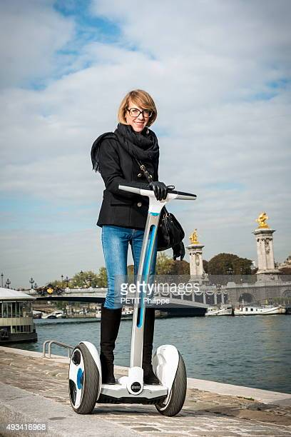 Julia with the segway poses on october 03 2015 in Paris France