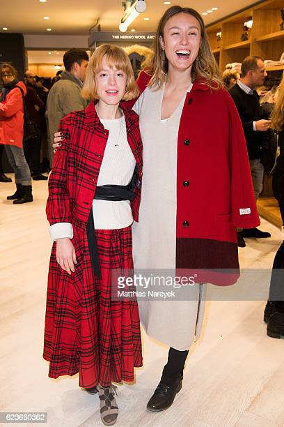 Julia Zange and Ricarda Messner attend the 'The Woolrich Mill Tradition And Future Of Wool' photo exhibition opening by Woolmark and Woolrich on...