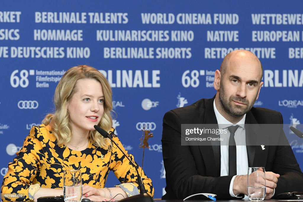Julia Zange and Urs Jucker attend the 'My Brother's Name is Robert and He is an Idiot' (Mein Bruder heisst Robert und ist ein Idiot) press conference during the 68th Berlinale International Film Festival Berlin at Grand Hyatt Hotel on February 21, 2018 in Berlin, Germany.