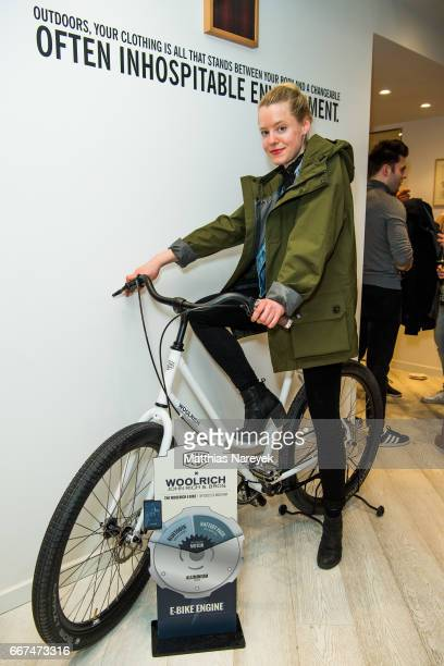 Julia Zange attends the opening of the 'Good Wibes Bike Bar' to present the new ebike by Woolrich Deus at the Woolrich Store on April 11 2017 in...
