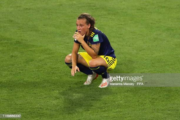 Julia Zigiotti of Sweden looks dejected following her sides defeat in the 2019 FIFA Women's World Cup France Semi Final match between Netherlands and...