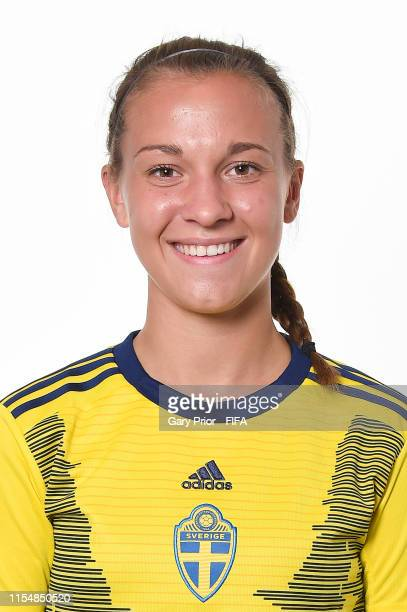 Julia Zigiotti of Sweden poses for a portrait during the official FIFA Women's World Cup 2019 portrait session at Hotel Mercure Rennes Centre Gare on...