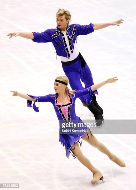 Julia Zlobina and Alexei Sitnikov of Russia perform in the Ice Dancing Free Dance of the ISU Grand Prix of Figure Skating NHK Trophy at Sendai City...