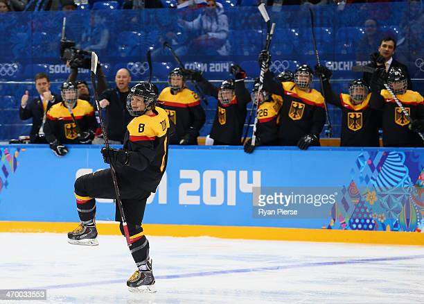 Julia Zorn of Germany celebrates her goal in the second period during the Women's Classifications Game between Germany and Japan on day 11 of the...