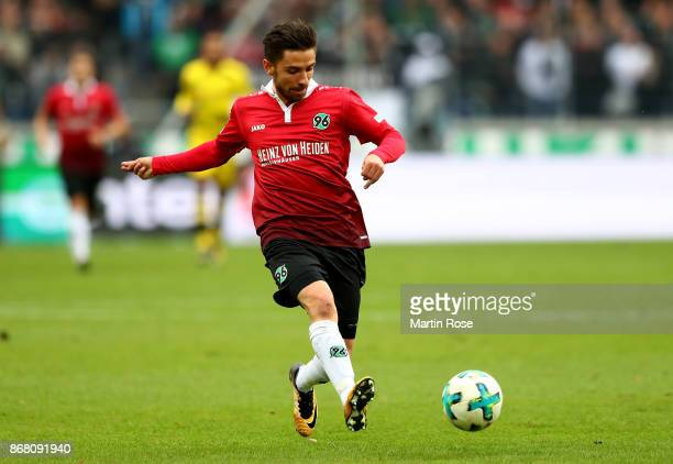 Juliam Korb of Hannover runs with the ball during the Bundesliga match between Hannover 96 and Borussia Dortmund at HDIArena on October 28 2017 in...