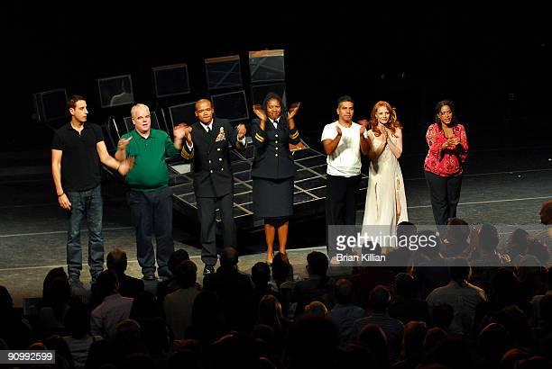 Julian Acosta Philip Seymour Hoffman Leroy McClain Saidah Arrika Ekulona John Ortiz Jessica Chastain and Liza ColonZayas gather for the curtain call...