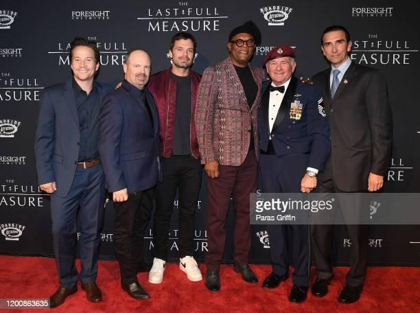 "Julian Adams, Todd Robinson, Sebastian Stan, Samuel L. Jackson, John Pighini, and Sidney Sherman attend ""The Last Full Measure"" Atlanta red carpet..."