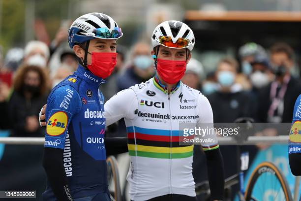 Julian Alaphilippe of France and Deceuninck-Quick-Step team and Andrea Bagioli of Italy and Deceuninck-Quick-Step team attend the 115th Il Lombardia...