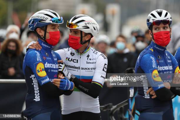 Julian Alaphilippe of France and Deceuninck-Quick-Step team and road world champion and Andrea Bagioli of Italy and Deceuninck-Quick-Step team cheers...