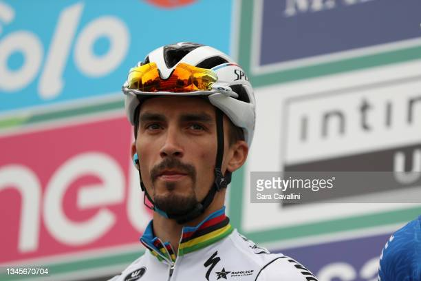 Julian Alaphilippe of France and Deceuninck-Quick-Step team looks on during the teams presentation during the 115th Il Lombardia 2021 a 239km race...