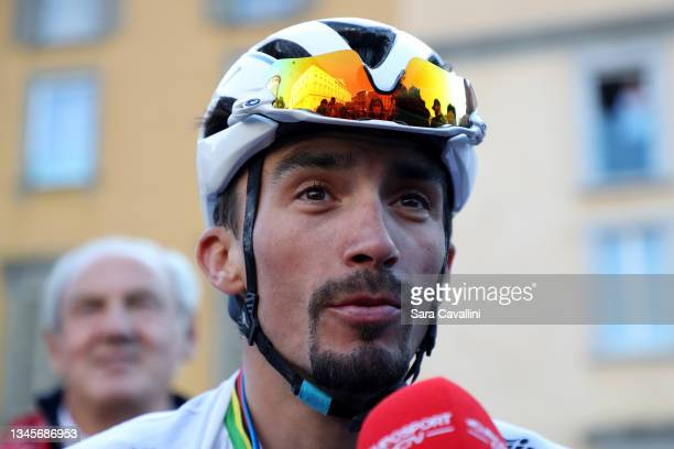 Julian Alaphilippe of France and Deceuninck-Quick-Step team looks on during an interview at the end of the race during the 115th Il Lombardia 2021 a...