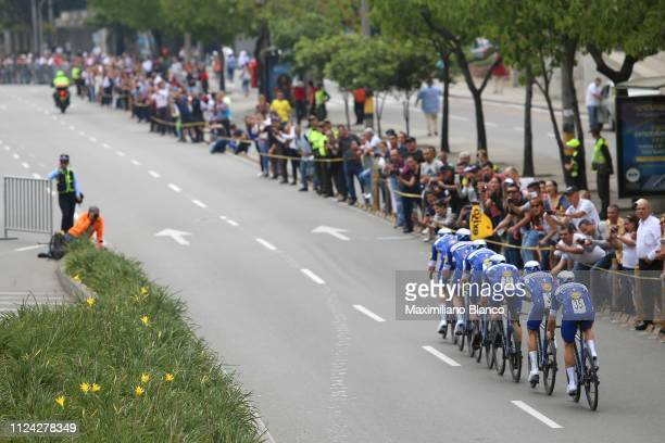 Julian Alaphilippe of France and DeceuninckQuickstep Team / Álvaro Hodeg of Colombia and DeceuninckQuickstep Team / Bob Jungels of Luxembourg and...