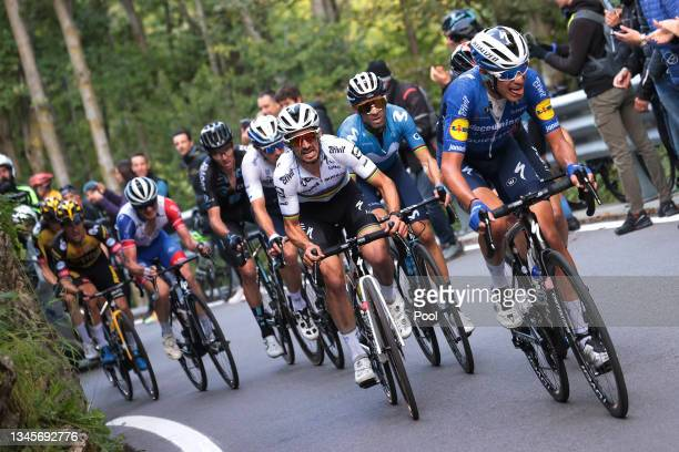 Julian Alaphilippe of France and Team Deceuninck - Quick-Step, Alejandro Valverde Belmonte of Spain and Movistar Team and Fausto Masnada of Italy and...