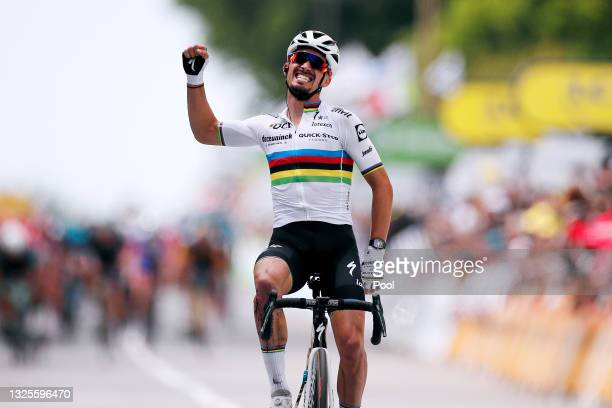 Julian Alaphilippe of France and Team Deceuninck - Quick-Step celebrates at arrival during the 108th Tour de France 2021, Stage 1 a 197,8km stage...