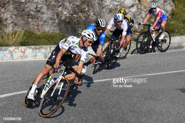 Julian Alaphilippe of France and Team Deceuninck - Quick-Step competes during the 115th Il Lombardia 2021 a 239km race from Como to Bergamo /...