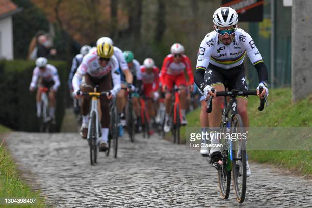 Julian Alaphilippe of France and Team Deceuninck - Quick-Step during the 76th Omloop Het Nieuwsblad 2021, Men's Race a 200,5km race from Ghent to...