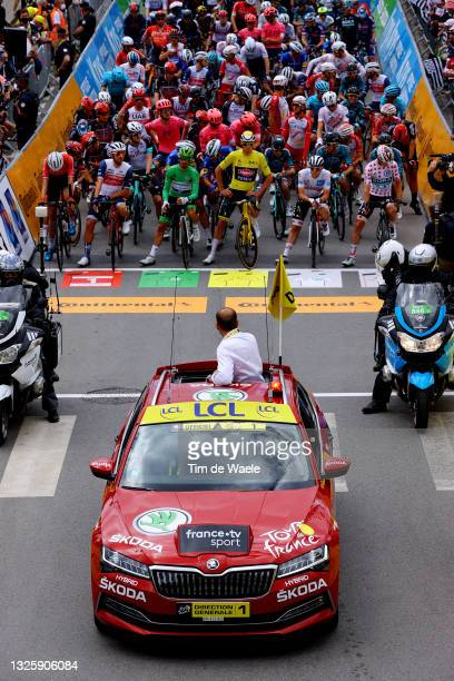 Julian Alaphilippe of France and Team Deceuninck - Quick-Step Green Points Jersey, Mathieu Van Der Poel of The Netherlands and Team Alpecin-Fenix...