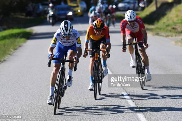 Julian Alaphilippe of France and Team Deceuninck - Quick-Step / Pello Bilbao of Spain and Team Bahrain - Mclaren / during the 107th Tour de France...