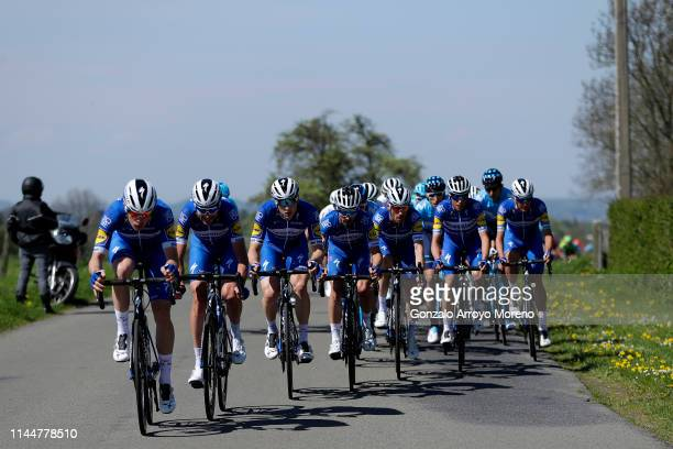 Julian Alaphilippe of France and Team Deceuninck QuickStep / Remi Cavagna of France and Team Deceuninck QuickStep / Dries Devenyns of Belgium and...