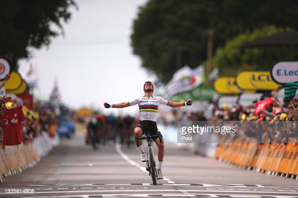 Julian Alaphilippe of France and Team Deceuninck - Quick-Step stage winner celebrates at arrival during the 108th Tour de France 2021, Stage 1 a...