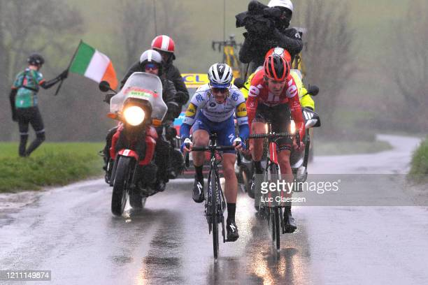 Julian Alaphilippe of France and Team Deceuninck QuickStep / Tiesj Benoot of Belgium and Team Sunweb / Rain / Fans / Public / Breakaway / during the...