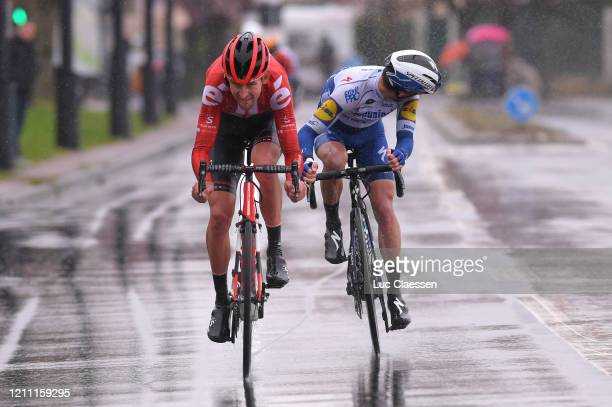 Julian Alaphilippe of France and Team Deceuninck - Quick-Step / Tiesj Benoot of Belgium and Team Sunweb / Rain / Breakaway / Rain / during the 78th...