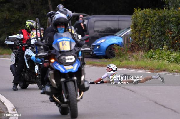 Julian Alaphilippe of France and Team Deceuninck - Quick-Step World Champion Jersey / Crash / Motorbike / during the 104th Tour of Flanders 2020 -...
