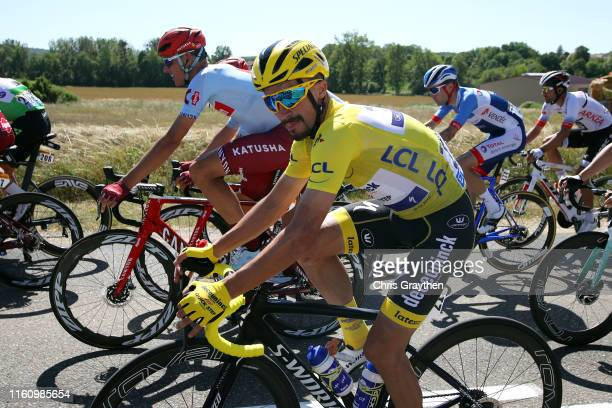 Julian Alaphilippe of France and Team Deceuninck QuickStep Yellow Leader Jersey / Nils Politt of Germany and Team KatushaAlpecin / during the 106th...