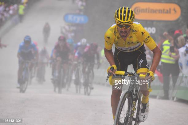 Julian Alaphilippe of France and Team Deceuninck QuickStep Yellow Leader Jersey / Geraint Thomas of United Kingdom and Team INEOS / Egan Bernal of...