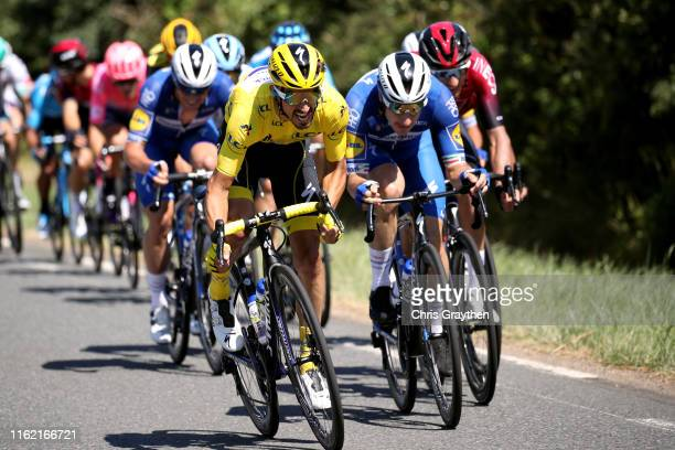 Julian Alaphilippe of France and Team Deceuninck - Quick-Step Yellow Leader Jersey / Elia Viviani of Italy and Team Deceuninck - Quick-Step / during...