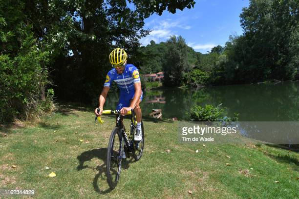Julian Alaphilippe of France and Team Deceuninck QuickStep Yellow Leader Jersey during the Team Deceuninck QuickStep Training / Rest Day / TDF /...