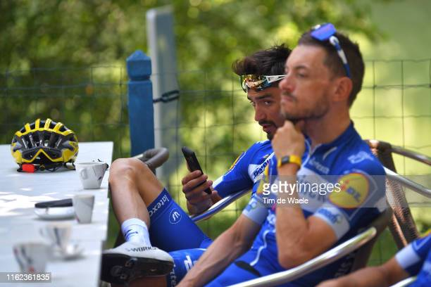 Julian Alaphilippe of France and Team Deceuninck - Quick-Step Yellow Leader Jersey / Dries Devenyns of Belgium and Team Deceuninck - Quick-Step /...