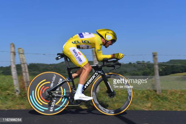 Julian Alaphilippe of France and Team Deceuninck - Quick-Step Yellow Leader Jersey / during the 106th Tour de France 2019 - Stage 13 a 27,2km...