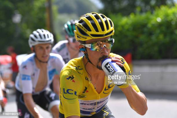 Julian Alaphilippe of France and Team Deceuninck - Quick-Step Yellow Leader Jersey / Refreshment / Enric Mas of Spain and Team Deceuninck -...