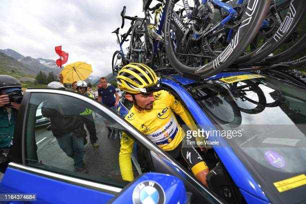 Julian Alaphilippe of France and Team Deceuninck - Quick-Step Yellow Leader Jersey / Stage neutralized - canceled due to snow and hail in the final...