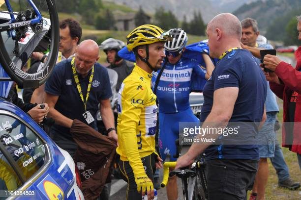 Julian Alaphilippe of France and Team Deceuninck QuickStep Yellow Leader Jersey / Disappointment / Tom Steels of Belgium Sports Director Team...
