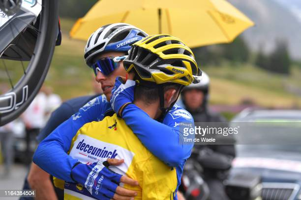 Julian Alaphilippe of France and Team Deceuninck - Quick-Step Yellow Leader Jersey Disappointment / Enric Mas of Spain and Team Deceuninck -...
