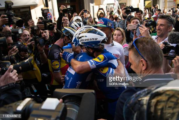 Julian Alaphilippe of France and Team Deceuninck Zdenek Stybar of Czech Republic and Team Deceuninck are seen Celebrating during the 110th edition of...