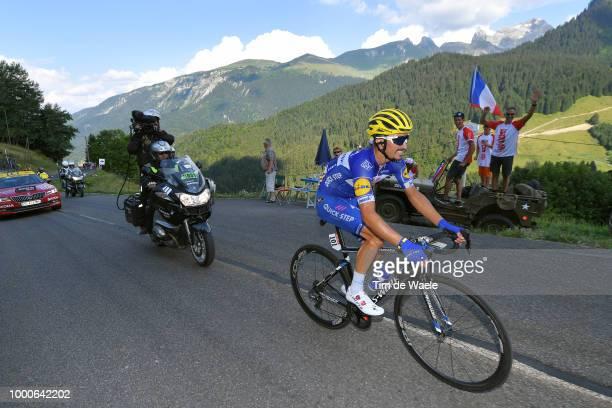 Julian Alaphilippe of France and Team Quick-Step Floors / Col De La Colombière / Fans / Public / Landscape / Mountains / during the 105th Tour de...