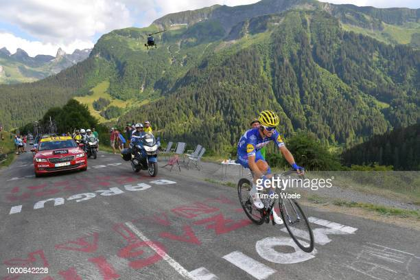 Julian Alaphilippe of France and Team Quick-Step Floors / Col De La Colombière / Fans / Public / Landscape / Mountains / during the 105th Tour de...