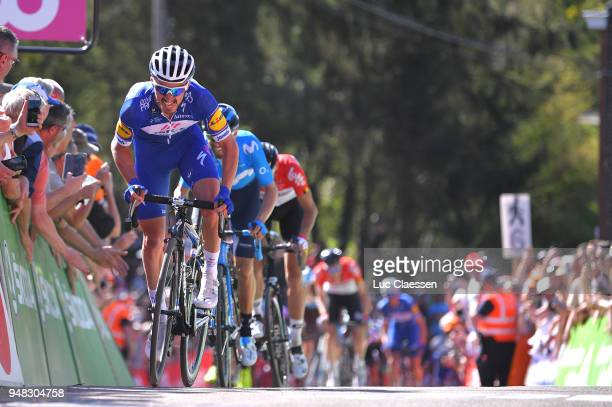 Julian Alaphilippe of France and Team QuickStep Floors /during the 82nd La Fleche Wallonne 2018 a 1985km race from Seraing to Mur De Huy on April 18...