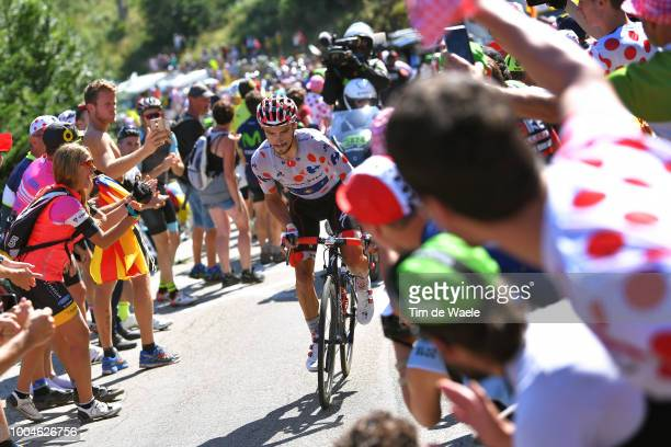 Julian Alaphilippe of France and Team QuickStep Floors Polka Dot Mountain Jersey / Fans / Public / during the 105th Tour de France 2018 Stage 16 a...