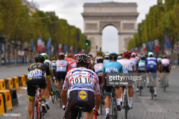 Julian Alaphilippe of France and Team Quick-Step Floors Polka Dot Mountain Jersey /Paris City / Arc De Triomphe / Peloton / Landscape / during the...