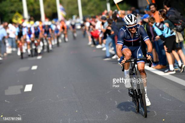 Julian Alaphilippe of France attacks during the 94th UCI Road World Championships 2021 - Men Elite Road Race a 268,3km race from Antwerp to Leuven /...