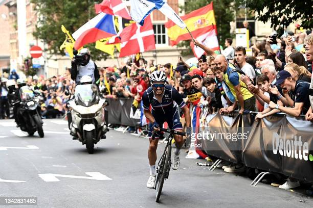 Julian Alaphilippe of France attacks in the breakaway while fans cheer during the 94th UCI Road World Championships 2021 - Men Elite Road Race a...
