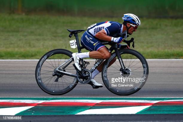 Julian Alaphilippe of France / Autodromo Enzo e Dino Ferrari / during the 93rd UCI Road World Championships 2020, Men Elite Road Race a 258,2km race...